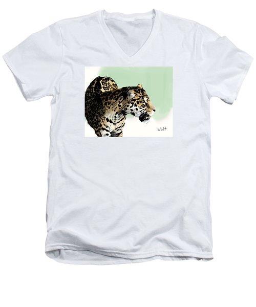 Men's V-Neck T-Shirt featuring the digital art Leopard by Walter Chamberlain