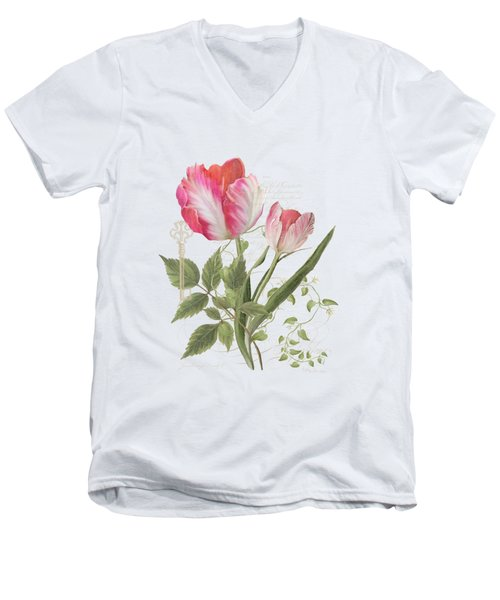 Men's V-Neck T-Shirt featuring the painting Les Magnifiques Fleurs I - Magnificent Garden Flowers Parrot Tulips N Indigo Bunting Songbird by Audrey Jeanne Roberts