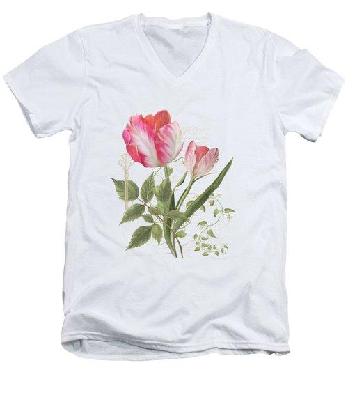 Les Magnifiques Fleurs I - Magnificent Garden Flowers Parrot Tulips N Indigo Bunting Songbird Men's V-Neck T-Shirt