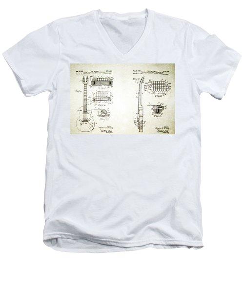 Les Paul Guitar Patent 1955 Men's V-Neck T-Shirt