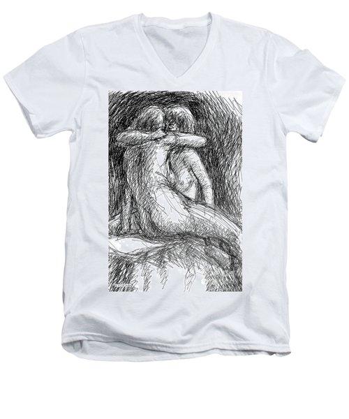 Lesbian Sketches  1 Men's V-Neck T-Shirt