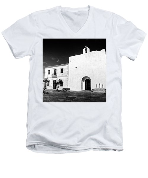 Fortified Church, Formentera Men's V-Neck T-Shirt