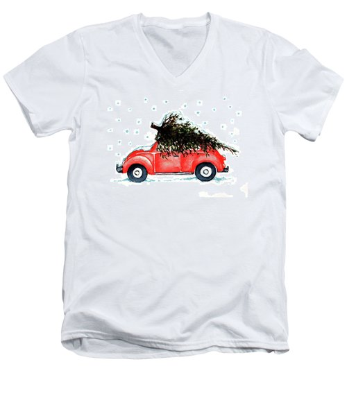 Men's V-Neck T-Shirt featuring the painting Let It Snow by Heidi Kriel