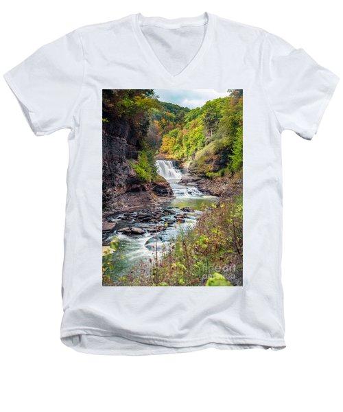 Letchworth Lower Falls In Autumn Men's V-Neck T-Shirt