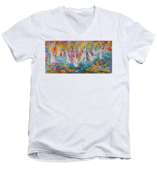 Lets Go Sailing Men's V-Neck T-Shirt by Lyn Olsen