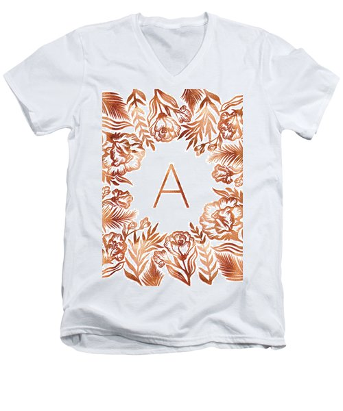 Letter A - Rose Gold Glitter Flowers Men's V-Neck T-Shirt