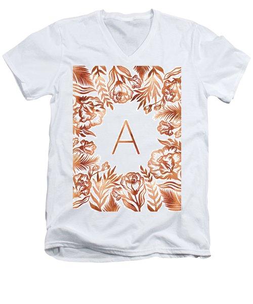 Letter A - Rose Gold Glitter Flowers Men's V-Neck T-Shirt