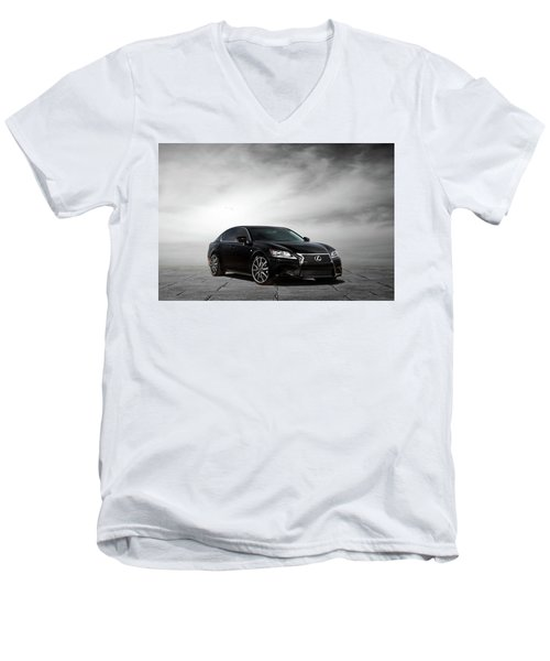 Men's V-Neck T-Shirt featuring the digital art Lexus Gs350 F Sport by Peter Chilelli