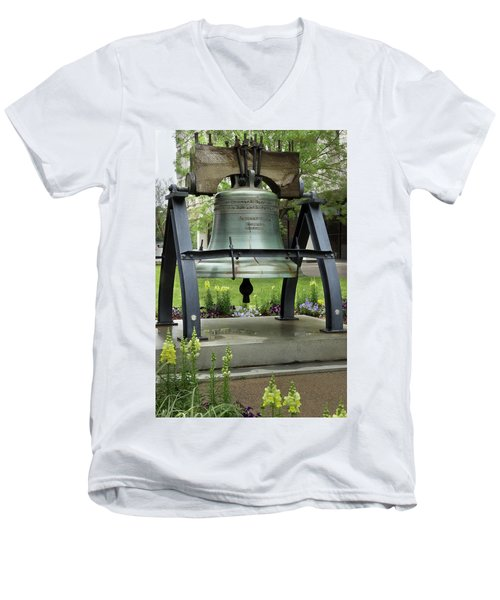 Men's V-Neck T-Shirt featuring the photograph Liberty Bell Replica by Mike Eingle