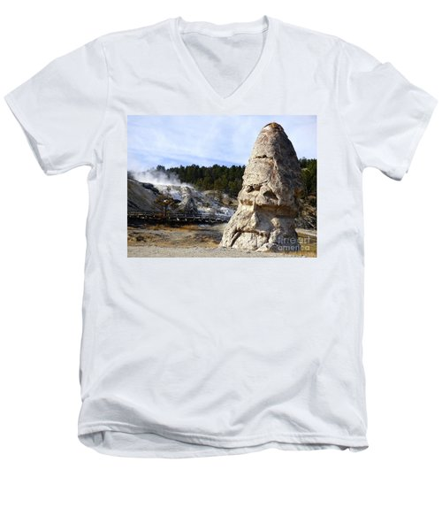 Liberty Cap At Mammoth Hot Springs Men's V-Neck T-Shirt