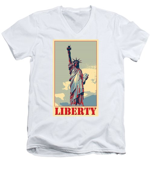 Liberty Men's V-Neck T-Shirt by Richard Reeve
