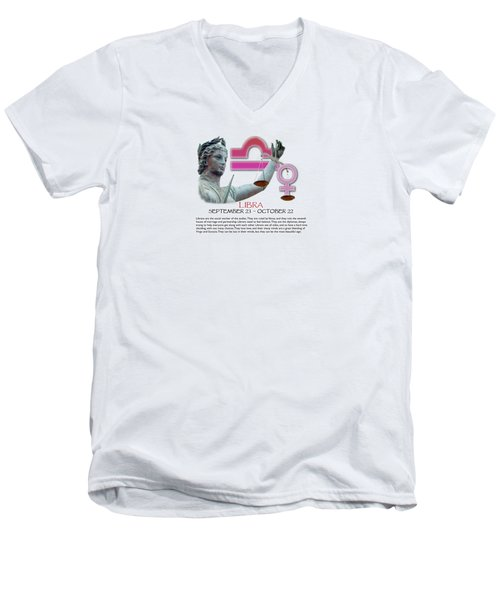 Libra Sun Sign Men's V-Neck T-Shirt by Shelley Overton