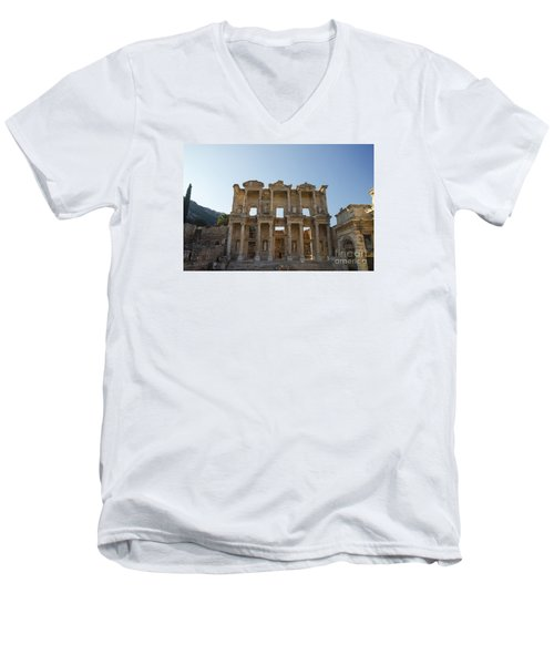 Men's V-Neck T-Shirt featuring the photograph Library Of Ephesus Or Celsus by Yuri Santin
