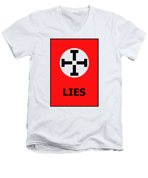 Lies Men's V-Neck T-Shirt by Richard Reeve