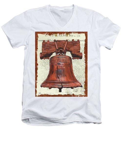 Life And Liberty Men's V-Neck T-Shirt by Debbie DeWitt