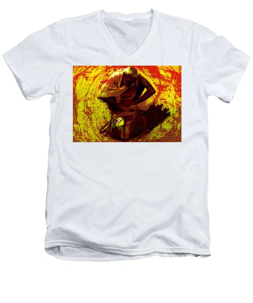 Men's V-Neck T-Shirt featuring the digital art Life Baggage by Bliss Of Art