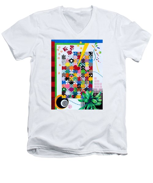 Life Is A Puzzle Men's V-Neck T-Shirt by Thomas Gronowski