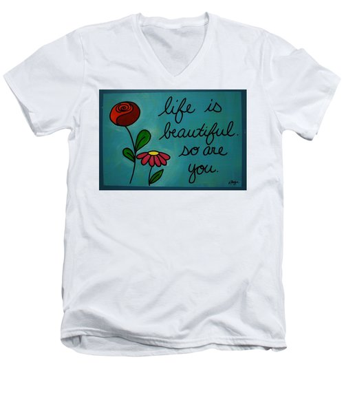 Life Is Beautiful Men's V-Neck T-Shirt