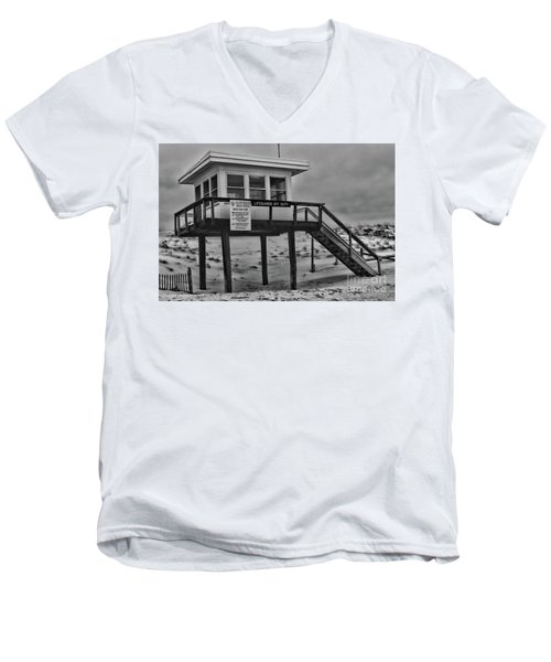 Men's V-Neck T-Shirt featuring the photograph Lifeguard Station 1 In Black And White by Paul Ward