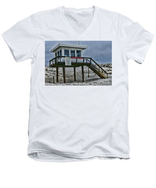 Men's V-Neck T-Shirt featuring the photograph Lifeguard Station 1 by Paul Ward