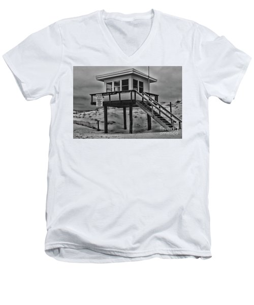 Men's V-Neck T-Shirt featuring the photograph Lifeguard Station 2 In Black And White by Paul Ward