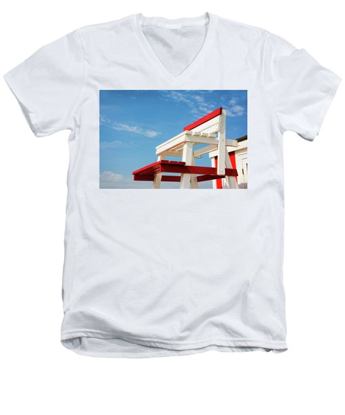 Lifeguard Station Men's V-Neck T-Shirt by Marion McCristall