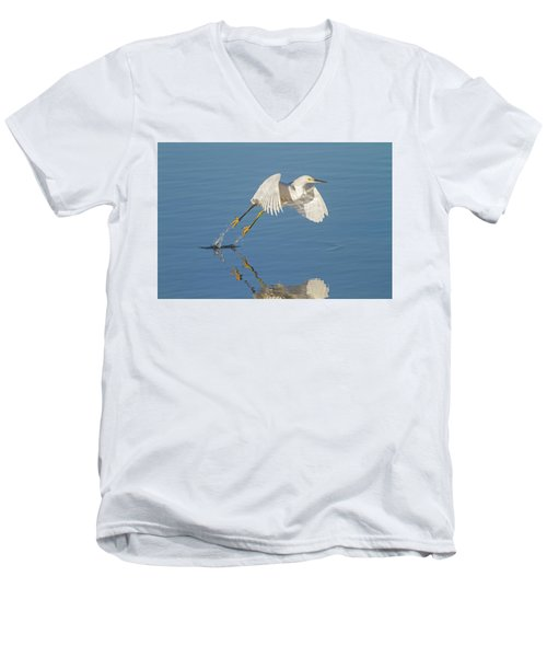 Lift Off- Snowy Egret Men's V-Neck T-Shirt