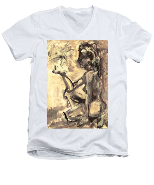 Light And Shadow Men's V-Neck T-Shirt by Mary Schiros