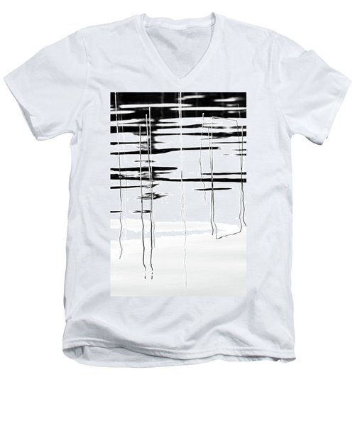 Light And Shadow Reeds Abstract Men's V-Neck T-Shirt
