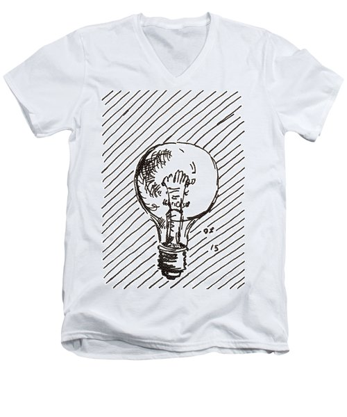 Light Bulb 1 2015 - Aceo Men's V-Neck T-Shirt by Joseph A Langley