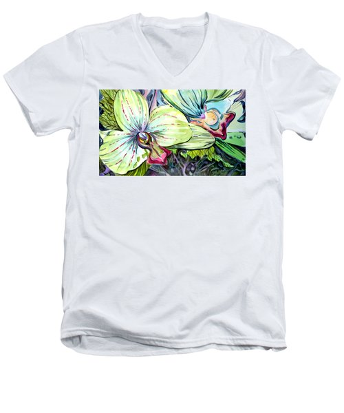 Light Of Orchids Men's V-Neck T-Shirt by Mindy Newman