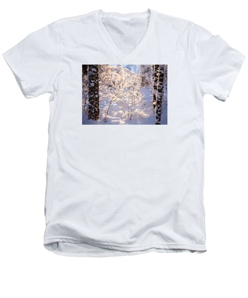Men's V-Neck T-Shirt featuring the photograph Light Of Winter by Rose-Maries Pictures