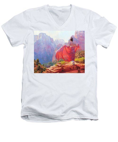 Men's V-Neck T-Shirt featuring the painting Light Of Zion by Steve Henderson