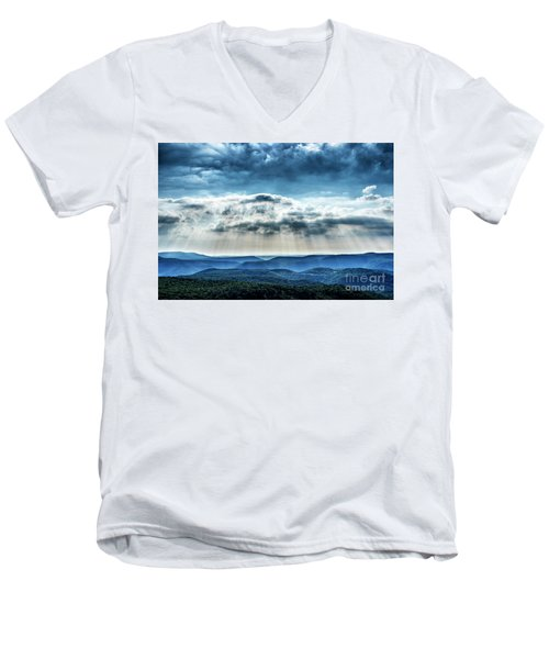 Men's V-Neck T-Shirt featuring the photograph Light Rains Down by Thomas R Fletcher