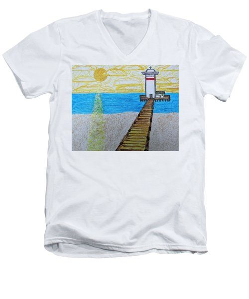 Lighthouse And Yellow Sun Men's V-Neck T-Shirt