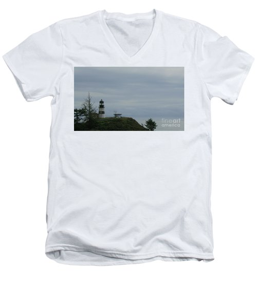 Lighthouse At Cape Disappointment Men's V-Neck T-Shirt