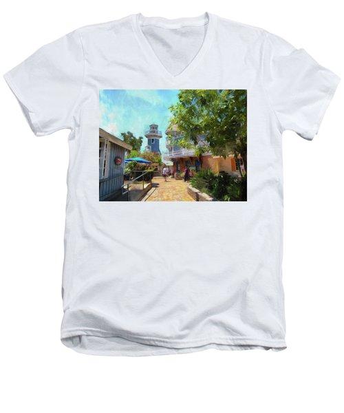 Lighthouse At Seaport Village Men's V-Neck T-Shirt