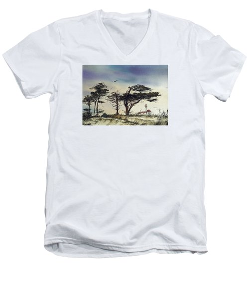 Men's V-Neck T-Shirt featuring the painting Lighthouse Coast by James Williamson