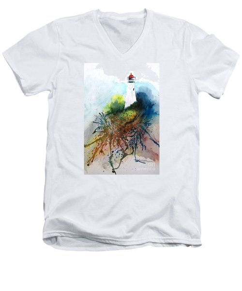 Men's V-Neck T-Shirt featuring the painting Lighthouse I - Original Sold by Therese Alcorn