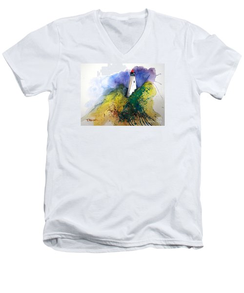 Men's V-Neck T-Shirt featuring the painting Lighthouse IIi - Original Sold by Therese Alcorn