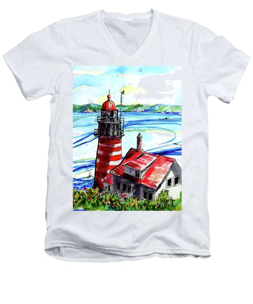 Lighthouse In Maine Men's V-Neck T-Shirt by Terry Banderas