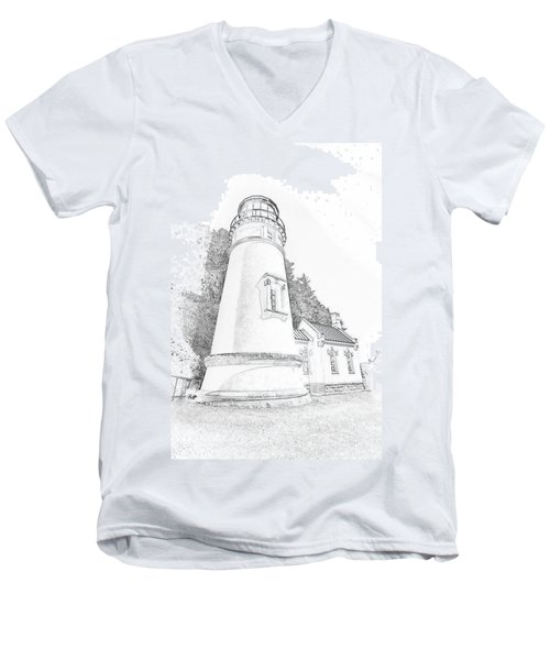Lighthouse In Oregon Men's V-Neck T-Shirt by Jeffrey Jensen