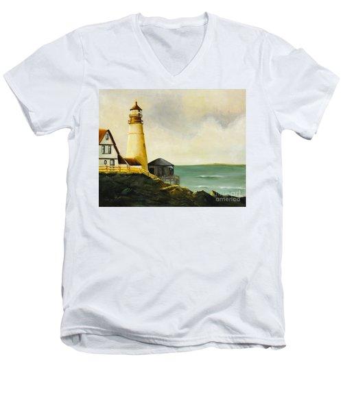 Lighthouse In Oil Men's V-Neck T-Shirt