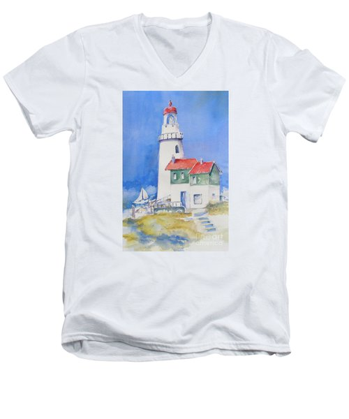 Men's V-Neck T-Shirt featuring the painting Lighthouse by Mary Haley-Rocks