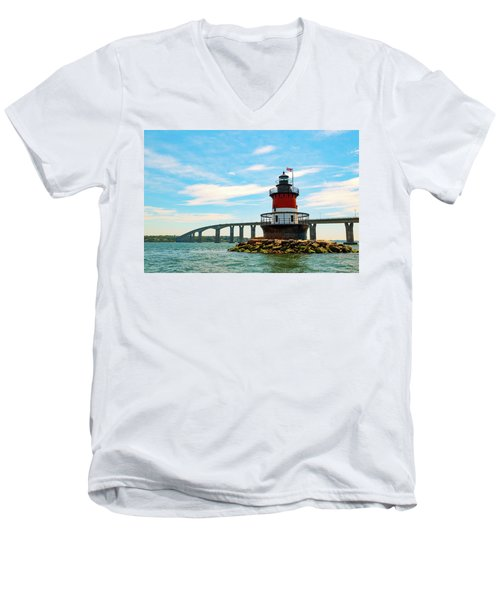 Lighthouse On A Small Island Men's V-Neck T-Shirt