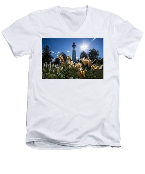 Lighthouse With A Flowery Foreground Men's V-Neck T-Shirt