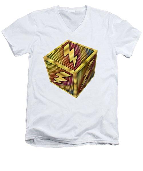 Lightning Bolt Cube - Transparent Men's V-Neck T-Shirt