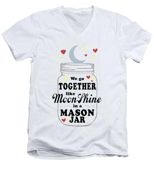 Like Moonshine In A Mason Jar Men's V-Neck T-Shirt by Heather Applegate