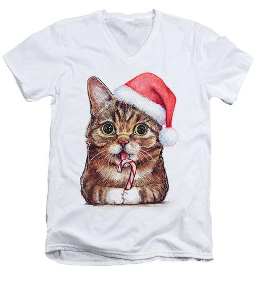 Lil Bub Cat In Santa Hat Men's V-Neck T-Shirt by Olga Shvartsur