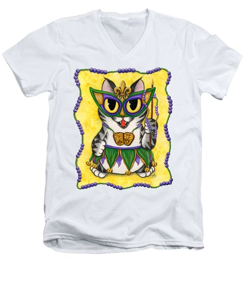 Lil Mardi Gras Cat Men's V-Neck T-Shirt